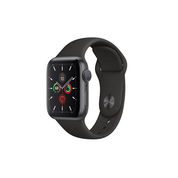 APPLE WATCH SERIES 5 GPS, 40MM SPACE GREY ALUMINIUM CASE WITH BLACK SPORT BAND (MWV82AE/A)