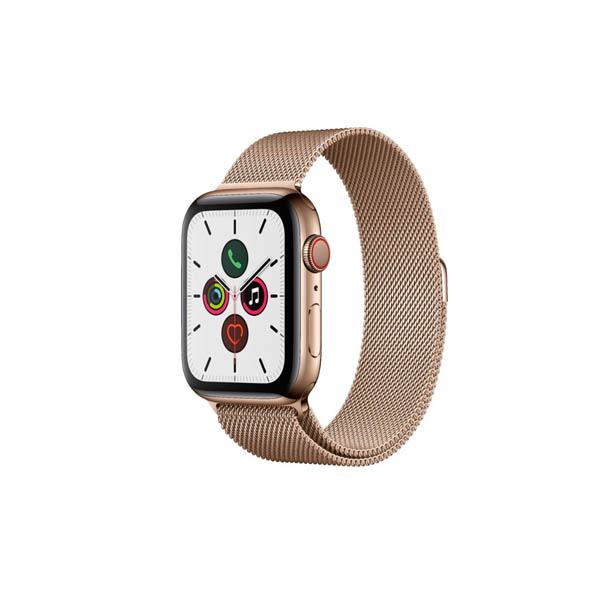 Apple Watch Series 5 GPS + Cellular, 44mm Gold Stainless Steel Case with Gold Milanese Loop (MWWJ2AE/A)