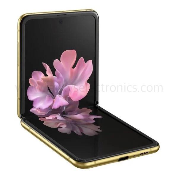 """Samsung Galaxy Z Flip, 6.7"""" FHD+ Dynamic AMOLED, 256GB, 4G LTE GOLD (SMF700FW-256GBGD)"""
