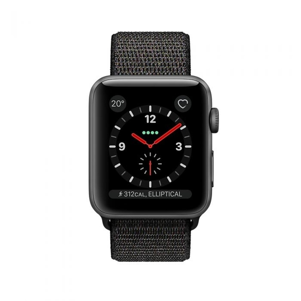 Apple Watch Series 3 GPS + Cellular 38mm Space Grey Aluminium Case with Black Sport Loop (MRQG2AE/A)