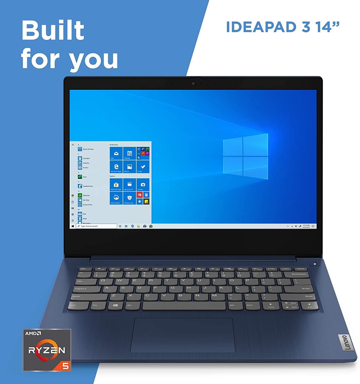 "Lenovo IdeaPad 3 Laptop, 14.0"" FHD 1920 x 1080 Display, AMD Ryzen 5 3500U Processor, 8GB DDR4 RAM, 256GB SSD, AMD Radeon Vega 8 Graphics, Narrow Bezel, Windows 10, 81W0003QUS, Abyss Blue IP3-3QUSE"