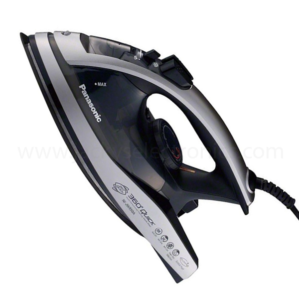 Panasonic Made in Japan Steam Iron, 360Deg Dual Tip Sole plate, 2400W, Vertical/Jet Steam, Alumite Coating; Black and Silver Colour; 3 way Cleaning (NIJW950)