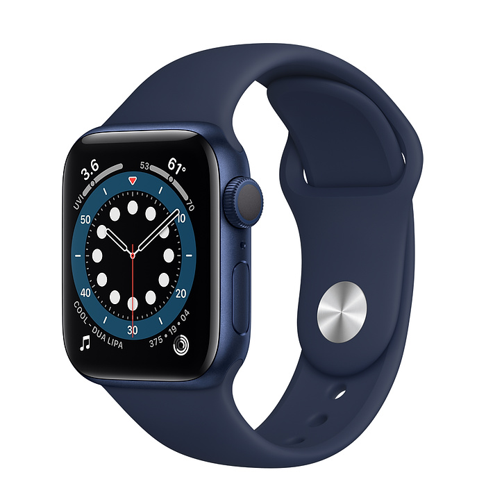 Apple Watch Series 6 GPS, 40mm Blue Aluminium Case with Deep Navy Sport Band - Regular MG143AE/A