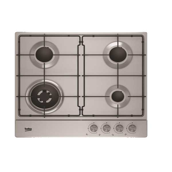 Beko 60cm Built-In Hob, Enamel Pan Supports, Flame Failure Safety, Made in Turkey (HIAW64223SXL)