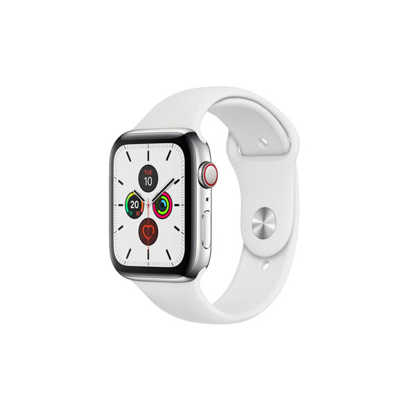 APPLE WATCH SERIES 5 GPS + CELLULAR, 44MM STAINLESS STEEL CASE WITH WHITE SPORT BAND - S/M & M/L (MWWF2AE/A)