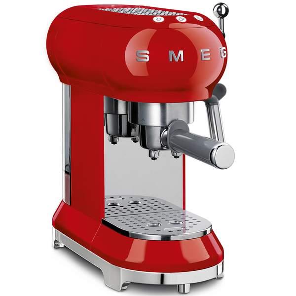 Smeg 50's Retro Style Aesthetic Coffee Machine, Red (ECF01RDUK)
