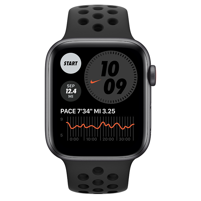 Apple Watch Nike SE GPS + Cellular, 44mm Space Gray Aluminium Case with Anthracite/Black Nike Sport Band - Regular MG0A3AE/A