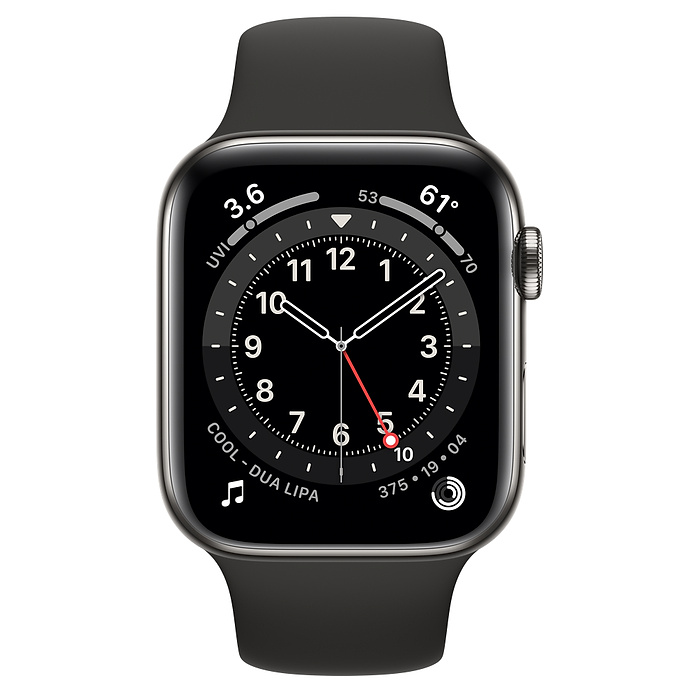 Apple Watch Series 6 GPS + Cellular, 44mm Graphite Stainless Steel Case with Black Sport Band - Regular M09H3AE/A