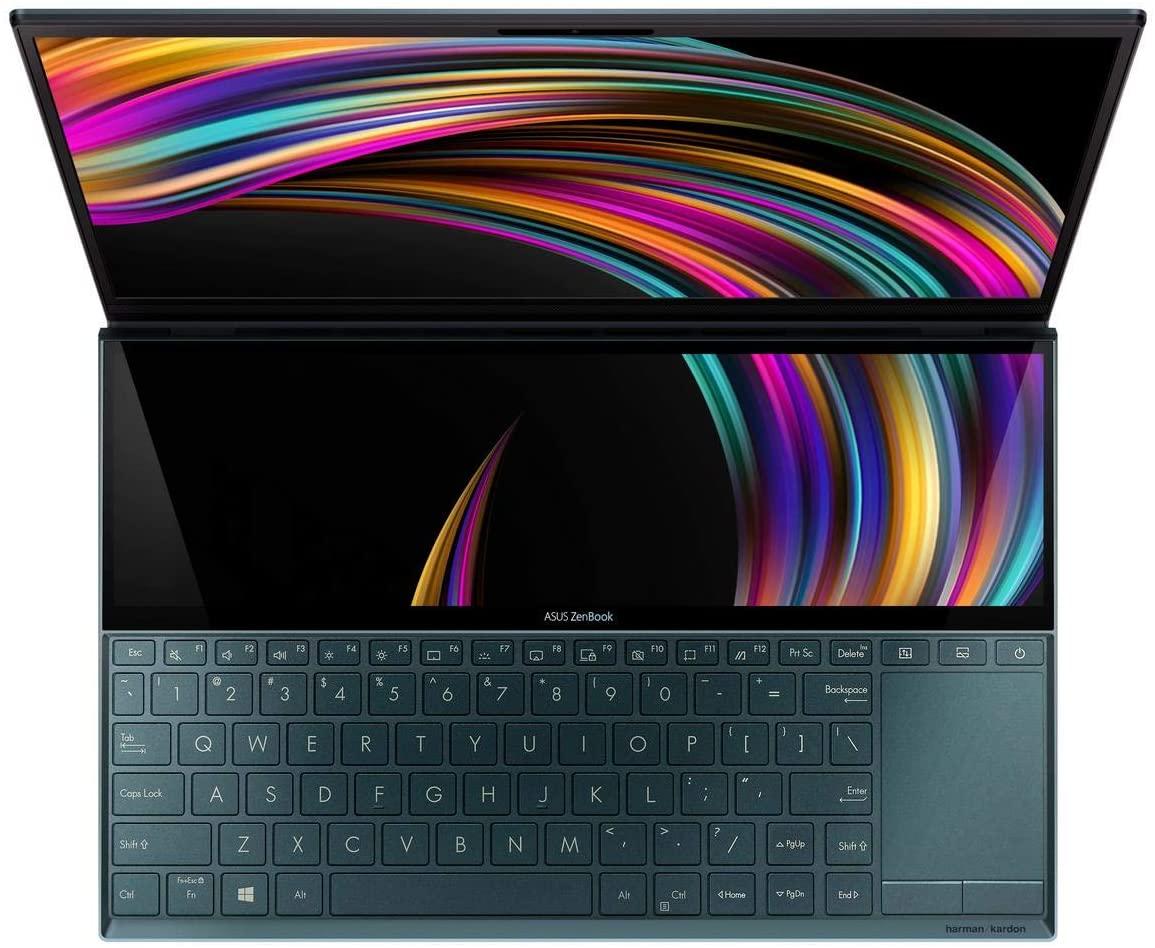 "ASUS ZenBook Duo 14"" i7 10th Gen, 16GB RAM, 1TB SSD, 2GB Graphics, Win10 - Celestial Blue UX481FL-BM021TS FHD English / Arabic Keyboard"