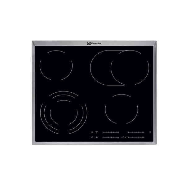 ELECTROLUX  ELUX 60CM CERAMIC HOB 4 ZONES TOUCH CTRL STEEL FRAME MAX POWER CONSUMPTION 2.8KW (KT6421XE)