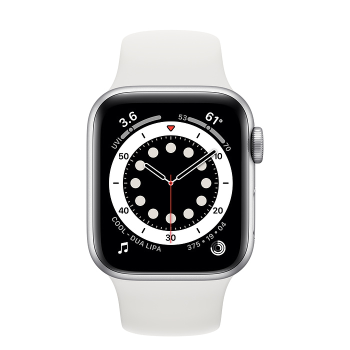 Apple Watch Series 6 GPS, 44mm Silver Aluminium Case with White Sport Band - Regular M00D3AE/A