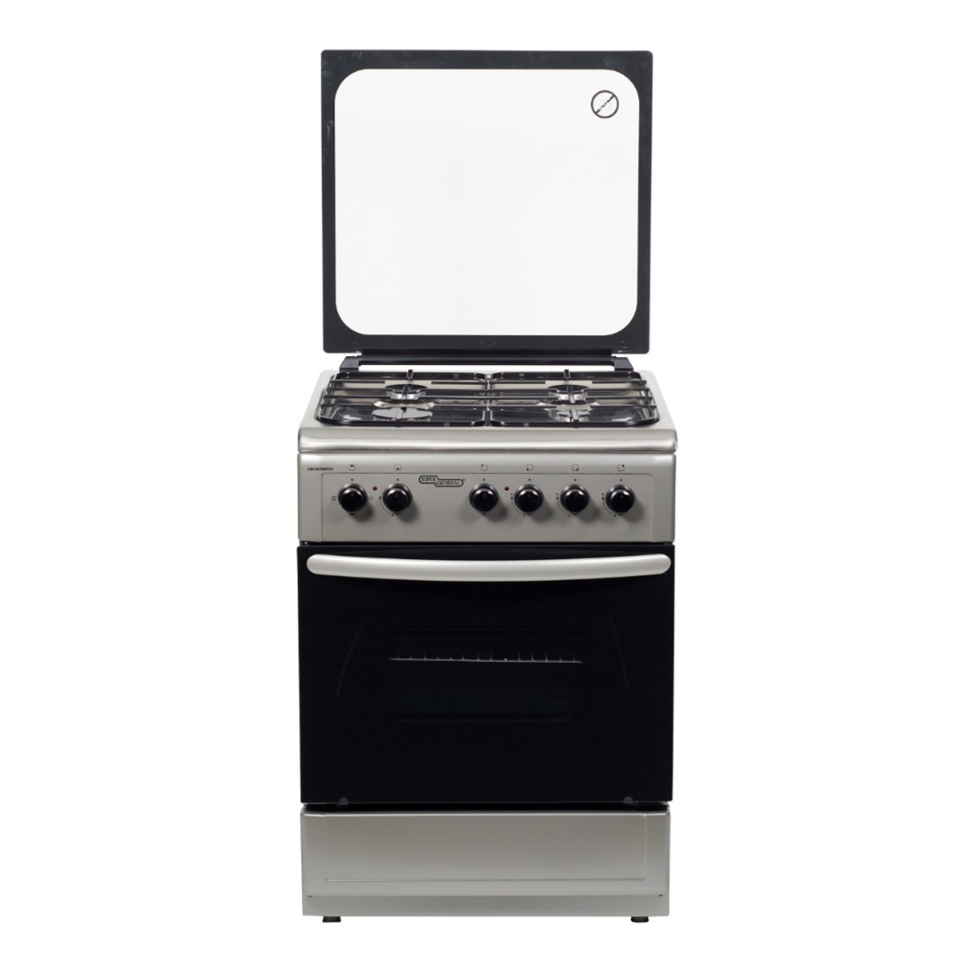 Super General 4 Burner Gas-Cooker, Silver 60 x 60 x 85 cm SGC6470MSFS