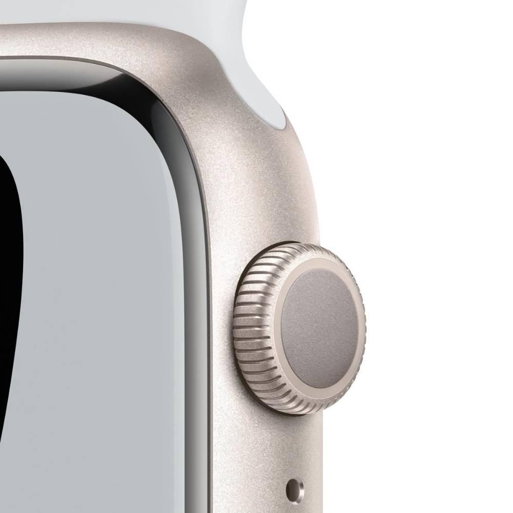 Apple Watch Nike Series 7 GPS, 45mm Starlight Aluminium Case with Pure Platinum/Black Nike Sport Band - Regular - MKNA3AE/A + EXTRA BAND (Unity Black Band)