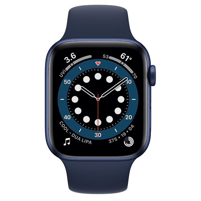 Apple Watch Series 6 GPS + Cellular, 44mm Blue Aluminium Case with Deep Navy Sport Band - Regular M09A3AE/A