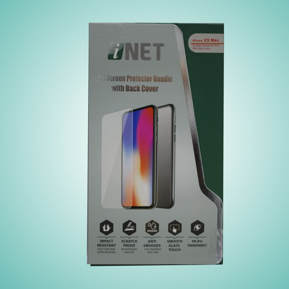 INET IPHONEXS MAX 6.5INCH BLACK 3D CURVED TEMPERED GLASS WITH BLACK BACK COVER INTGBC52IXSM