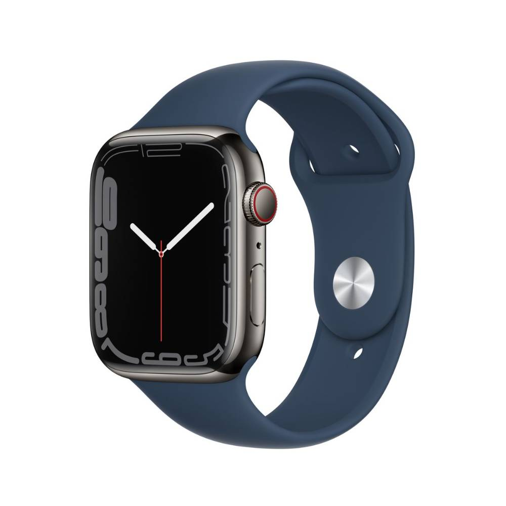 Apple Watch Series 7 GPS + Cellular, 41mm Graphite Stainless Steel Case with Abyss Blue Sport Band - Regular - MKJ13AE/A + EXTRA BAND