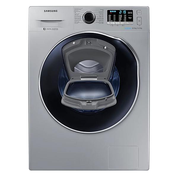 SAMSUNG 8 / 6 Washer dryer,1400 RPM, ADD WASH,ECO Bubble,Diamond Drum, Crystal Blue Door,Silver (WD80K5410OS)