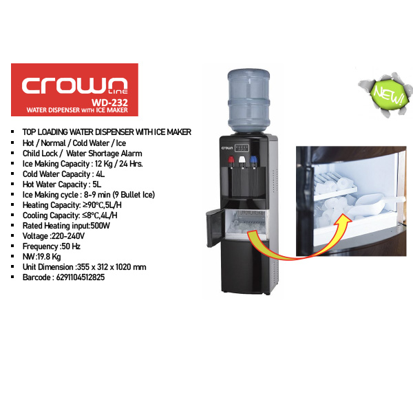 Crownline Top Loading Water Dispencer with Ice Maker (WD-232)
