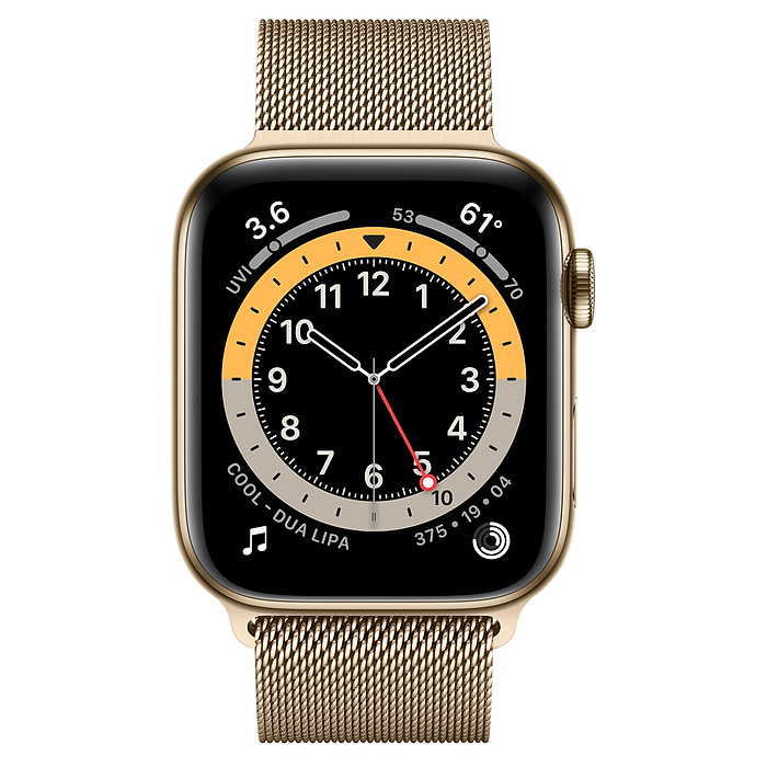 Apple Watch Series 6 GPS + Cellular, 44mm Gold Stainless Steel Case with Gold Milanese Loop M09G3AE/A