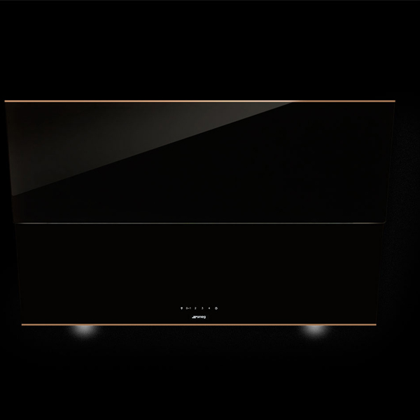 "Smeg 90cm ""Dolce Stil Novo"" Angled Chimney Hood, Black with Copper trim (KSVV90NRA)"