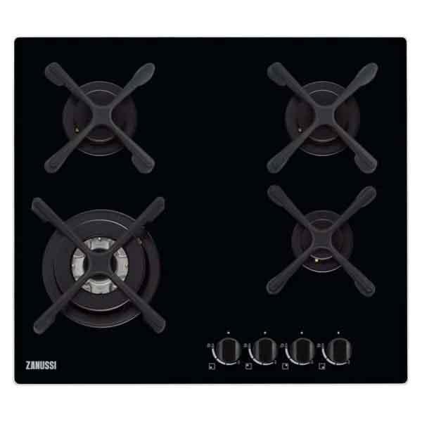 Zanussi 60cm Gas on Glass Hob, Rotary Knob Controls (ZGO68434BA)