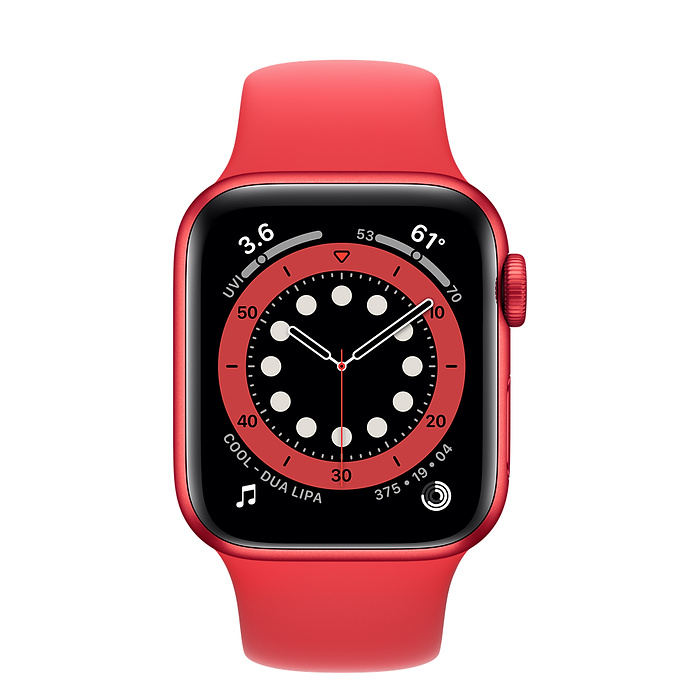 Apple Watch Series 6 GPS, 44mm PRODUCT(RED) Aluminium Case with PRODUCT(RED) Sport Band - Regular M00M3AE/A