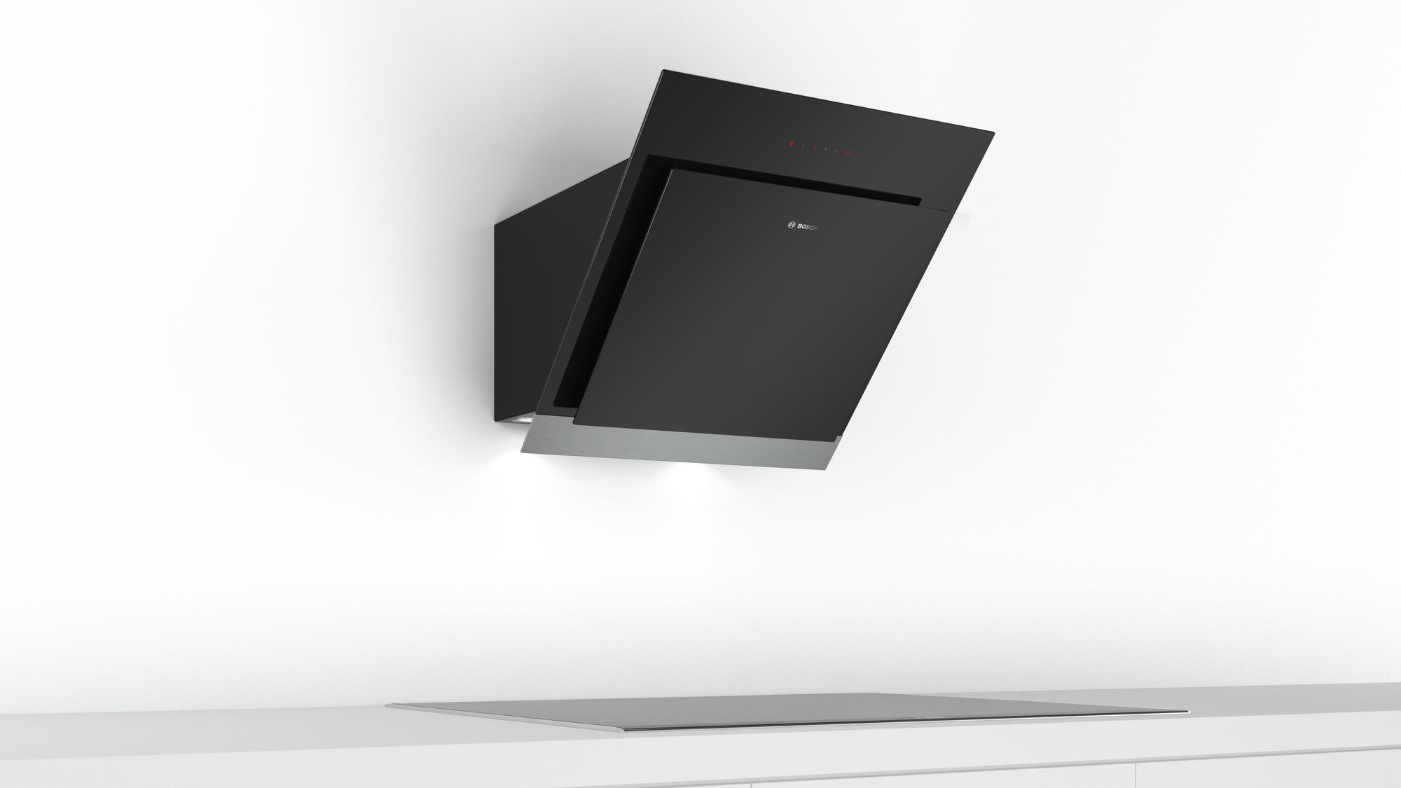 Bosch Serie 4 wall-mounted cooker hood60 cm clear glass black printed DWK67HM60B