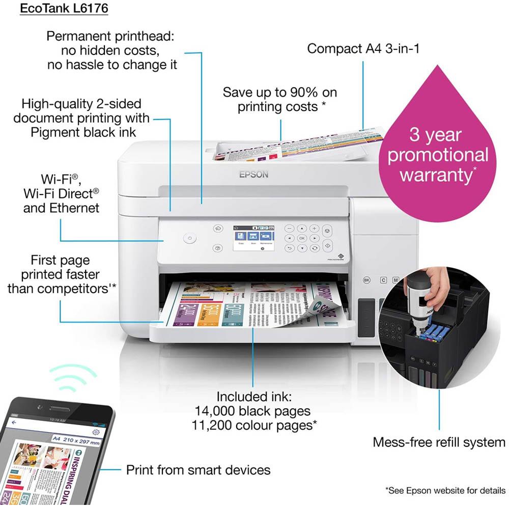Epson L6176 Eco Tank - Print Scan Copy, Auto Duplex, ADF, Wi-Fi