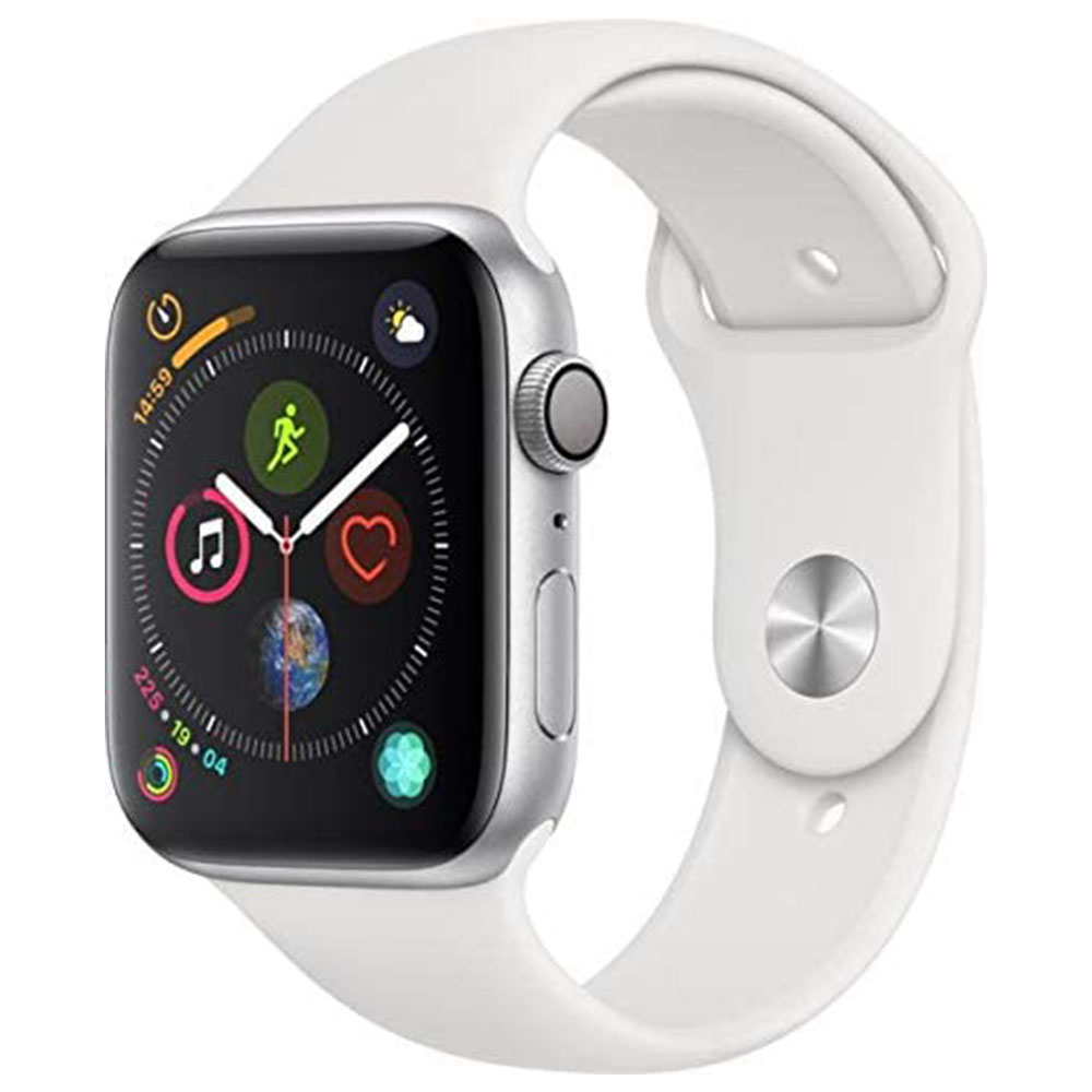 Apple Watch Series 4 GPS and Cellular Silver Aluminium Case With White Sport Band 44mm MTVR2