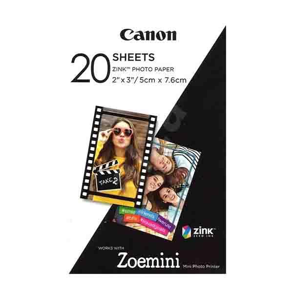CANON PHOTO PRINTER / ZOEMINI , WHITE + ZINK PAPER ZP-2030 20 SHEETS PV-123WHB