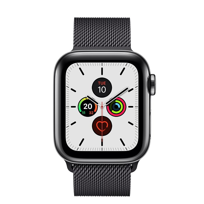 Apple Watch Series 5 GPS + Cellular, 40mm Space Black Stainless Steel Case with Space Black Milanese Loop (APPLE WATCH S5 40 SB SS MIL LP CEL-AMU)