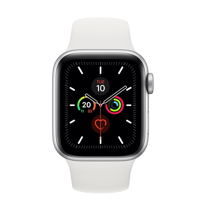 Apple Watch Series 5 GPS + Cellular, 44mm Silver Aluminium Case with White Sport Band - S/M & M/L - PRE-BOOKING ONLY