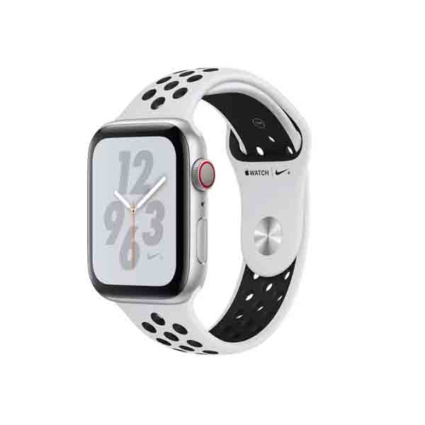 Apple Watch Nike+ Series 4 GPS + Cellular, 44mm Silver Aluminium Case with Pure Platinum Black Nike Sport Band  (MTXK2AE/A)