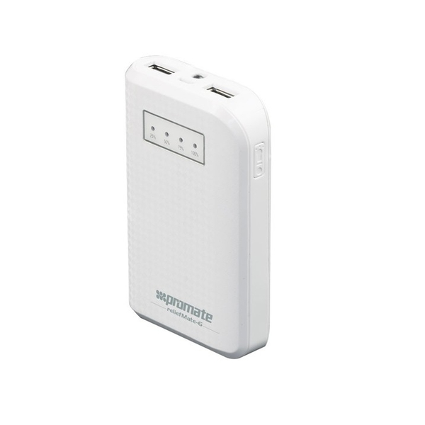 Promate ReliefMate 6 6000mAh Compact Universal Power Bank with Dual USB Ports - White (RELIEFMATE-6-WH)