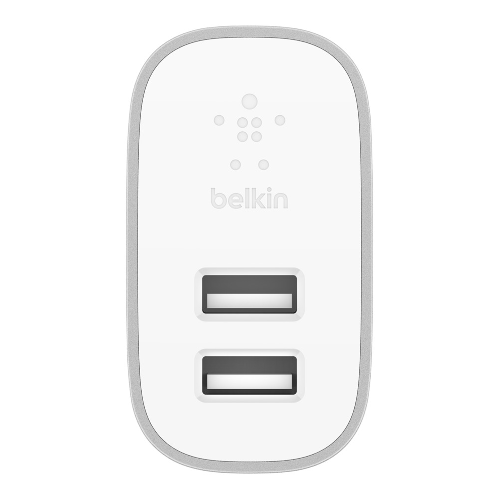 BELKIN WALL CHARGER DUAL PORT 4.8Amp 2x12W WITH 1M LTG CABLE, WHITE F8J230my04-SLV