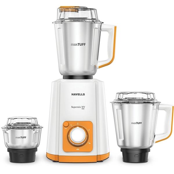 Havells Super Mix NV 500W Mixer Grinder - Orange (SUPERMIX500W3OR)