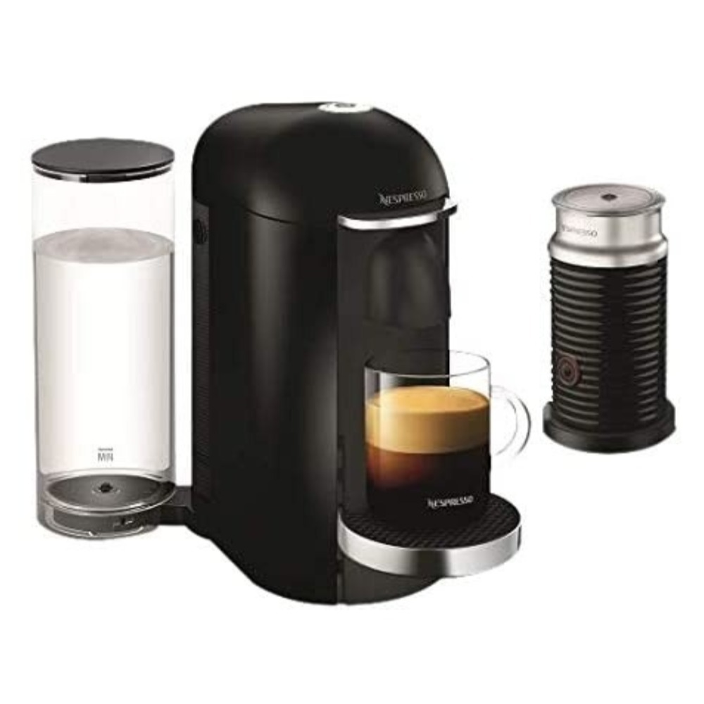 NESPRESSO Vertuo Plus Black Deluxe Coffee Machine  + Aerocino Black Bundle GCB2-BU-BK