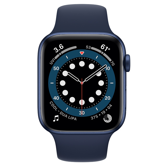 Apple Watch Series 6 GPS, 44mm Blue Aluminium Case with Deep Navy Sport Band - Regular M00J3AE/A