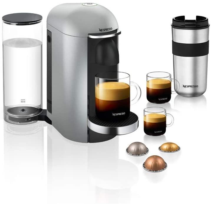 Nespresso Vertuo Plus Silver Deluxe Coffee Machine + Aerocino Black Bundle GCB2-BU-SI