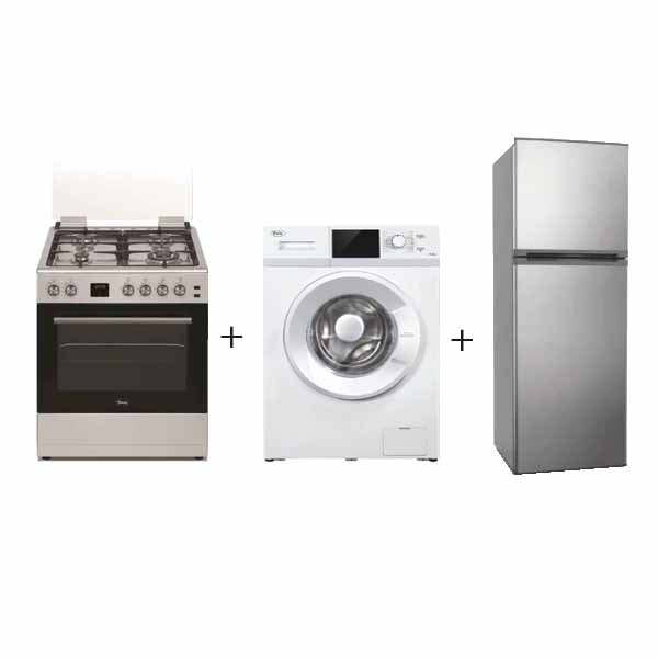 Terim 60 CM Gas Cooker + 8.5 Kg front Load Washer + 380 Liters Top Mount Refrigerator (TERGC66ST+TERFL91200+TERR380SS Bundled)