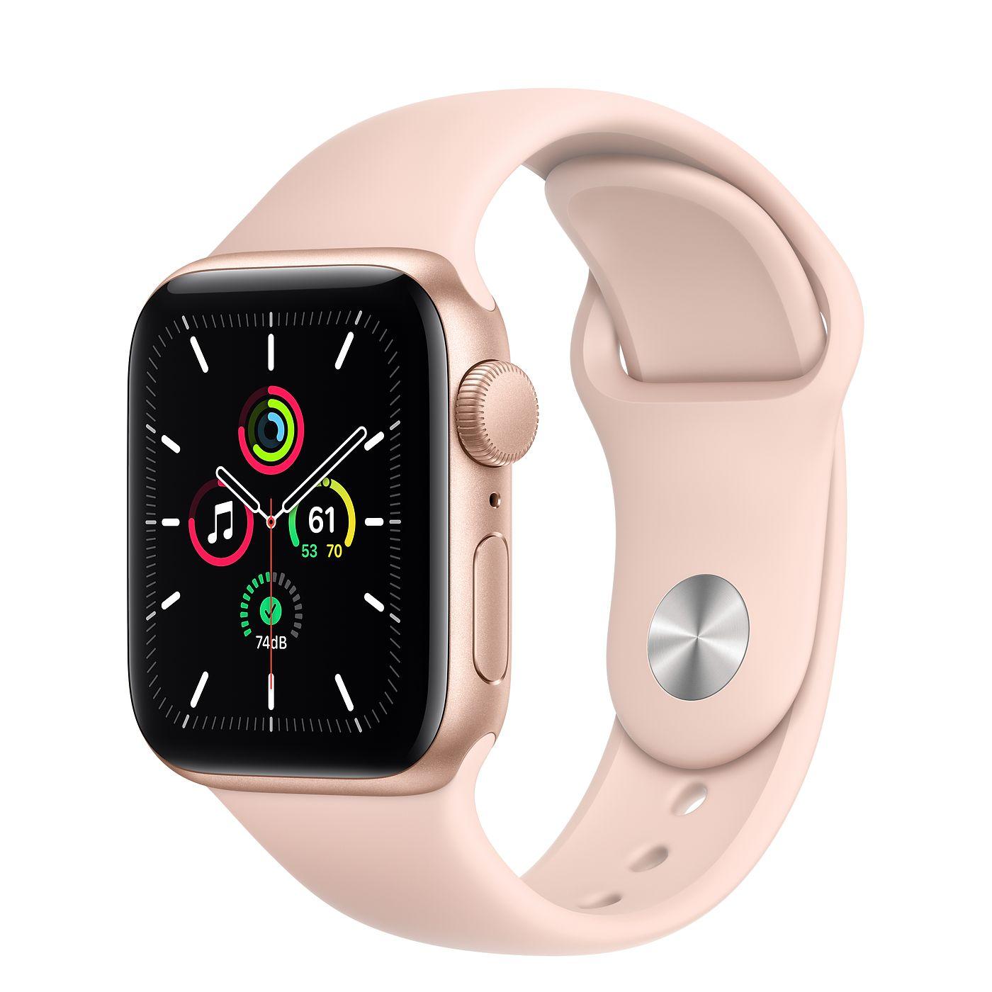Apple Watch SE GPS 40mm Gold Aluminium Case with Pink Sand Sport Band - Regular MYDN2AE/A 2020