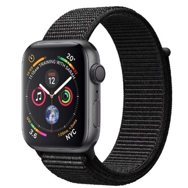 Apple Watch Series 4 GPS, 44mm Space Grey Aluminium Case with Black Sport Loop (MU6E2AE/A)