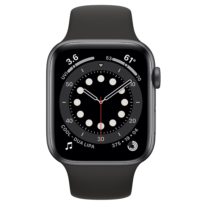 APPLE WATCH SERIES 6 GPS + CELLULAR, 44MM SPACE GREY ALUMINIUM CASE WITH BLACK SPORT BAND MG2E3AE/A