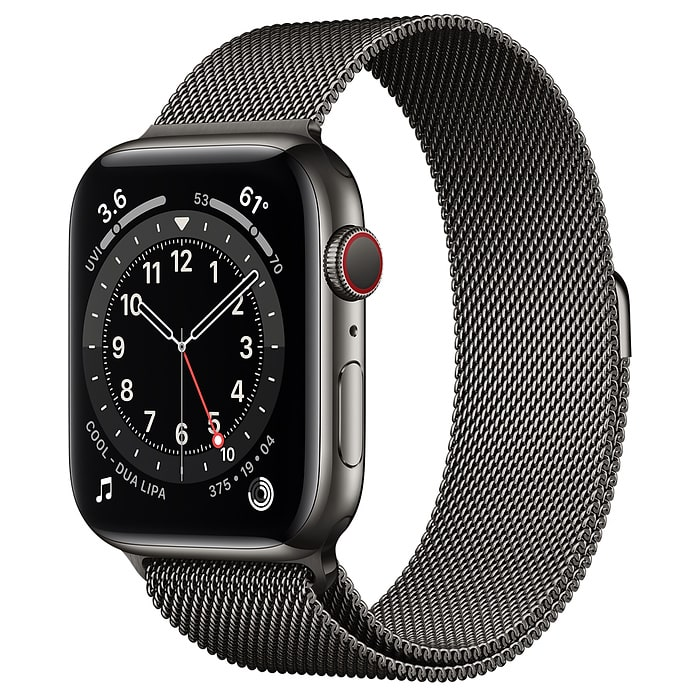 Apple Watch Series 6 GPS + Cellular, 44mm Graphite Stainless Steel Case with Graphite Milanese Loop M09J3AE/A