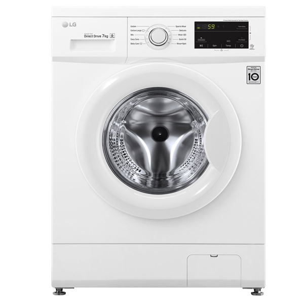 LG 7 Kg Front Load Washing Machine, Inverter Direct Drive Motor, 1000 RPM - White - FH2J3QDNP0