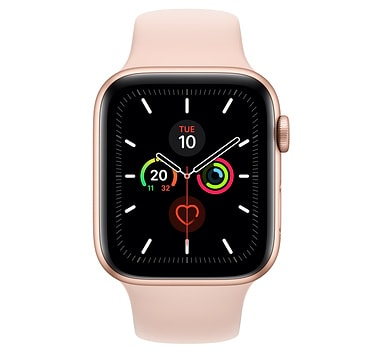 Apple Watch Series 5 GPS + Cellular, 44mm Gold Aluminium Case with Pink Sand Sport Band - S/M & M/L - PRE-BOOKING ONLY