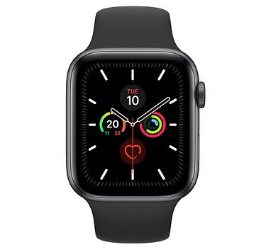 Apple Watch Series 5 GPS, 44mm Space Grey Aluminium Case with Black Sport Band SM & ML APPLE WATCH S5 44 SG AL BL SP GPS-AMU MWVF2
