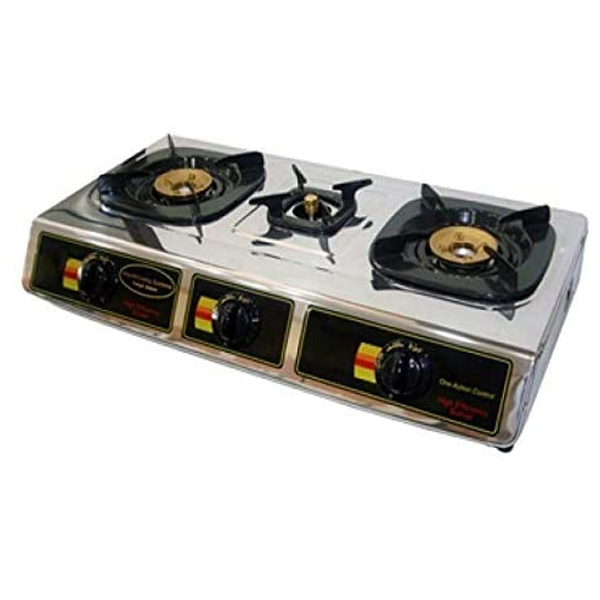 Hitachi Three-burner gas table Stainless steel top plateBrass burner head (MPH310RI)