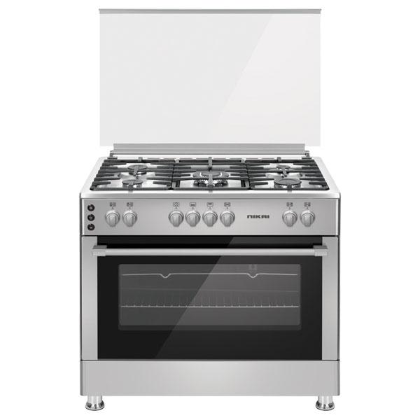Nikai Gas Cooker 90X60cm 5 Burners Full safety auto ignition Rotisseries Full grill function (U9066FSSPTN10)