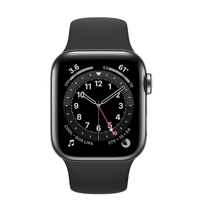 APPLE WATCH SERIES 6 GPS + CELLULAR, 40MM GRAPHITE STAINLESS STEEL CASE WITH BLACK SPORT BAND M06X3AE/A